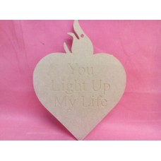 4mm MDF Heart Candle Engraved
